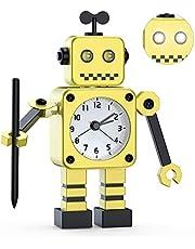 Reloj Despertador robótico, Reloj Despertador analógico, Reloj Despertador silencioso de Metal Inoxidable con Ojos Luminosos Intermitentes y Brazo Giratorio, Regalo para niños, niñas y niños