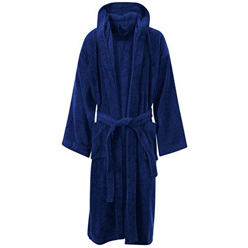 Myshoestore Accappatoio unisex di spugna in cotone egiziano al 100%, con tasche e cintura estremamente morbido, può essere usato come vestaglia, giacca da camera blu Navy Blue / Hooded