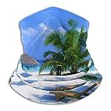 Linger In Playa Azul Mar Palma Cuello Calentador Cuello Polaina Pasamontañas Decoraciones faciales Bandana Sombreros