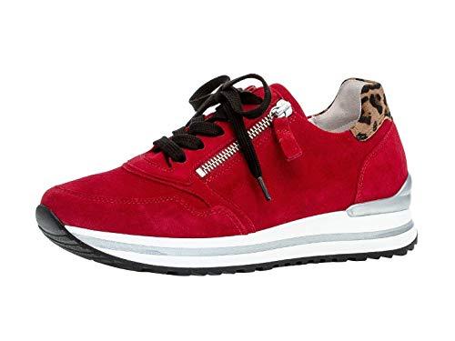 Gabor Damen Sneaker, Frauen Low-Top Sneaker,Comfort-Mehrweite,Reißverschluss,Optifit- Wechselfußbett, Women Woman,Rubin/savan(S.wei),41 EU / 7.5 UK