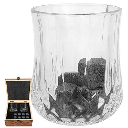 Asixxsix Juego de Rocas para Whisky, Granito, fácil de Limpiar, Reutilizable, Que no se derrite, Juego de Rocas para Enfriar, con Caja de Madera para Vino de Whisky