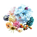 SM SunniMix 30 Piezas de Cabezas de Flores de Seda Artificial para El Accesorio de Diadema de Bricolaje Boho