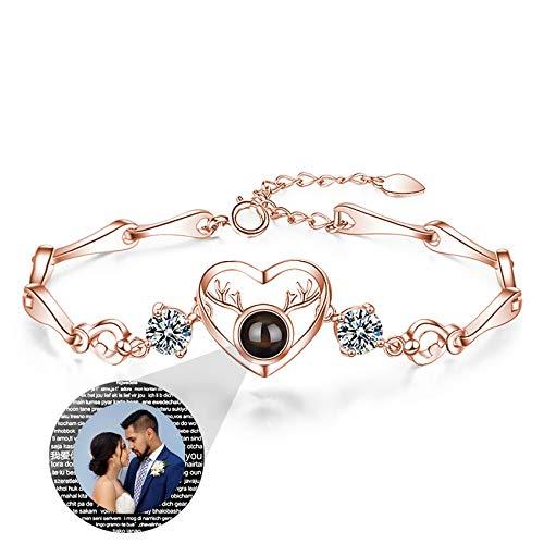 Pulsera De Plata 925 I Love You 100 Idiomas Con Foto Brazalete Con Imagen Personalizada Para Mujer Compromiso De Cumpleaños Collar Del Día De La Madre Pulsera (Rose gold14-6.1+1.38)