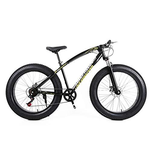 Unbekannt Mountainbike, 26-Zoll-Fat Tire Straßen-Fahrrad Schnee Bike Beach Bike High-Carbon Stahlrahmen, mit Scheibenbremsen und Federgabeln,Schwarz,24Speed