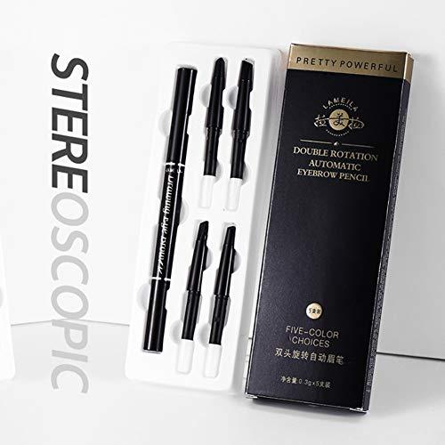 Crayon à sourcils à double tête Stylo à sourcils étanche aux taches avec brosse à sourcils 5 PCS Couleur différente