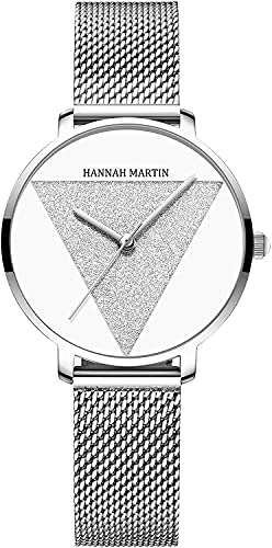 QHG Relojes para Mujer Rose Gold Matt Diamond Dial Reloj de Pulsera analógica Impermeable con Banda de Acero Inoxidable