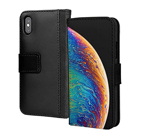 Espiral pintado al óleo planeta mundo pu cartera de cuero en la cubierta de la caja del teléfono de la tarjeta para Huawei P30 Lite