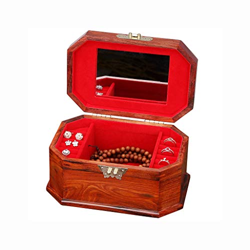 CHICAI Caja de maquillaje Caja de almacenamiento de joyas antiguas Caja de almacenamiento grande Retro Caoba Creativa Regalo de Cumpleaños Joyería, Decoración de la Moda del Hogar de la Moda Dowry