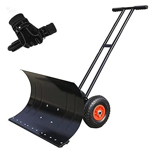 Wheeled Snow Pusher Shovel Heavy Duty Snow Shovel Rolling Snow Pusher with Adjustable Handle & Anti-Skid Wheels and Winter Gloves Snow Removal Tool for Driveway Garden Pavement ( Size : 29.1x16.5IN )