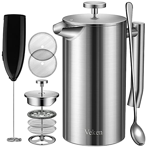 Veken French Press Double-Wall 304 Stainless Steel Coffee & Tea Maker, Multi-Screen System, 2 Extra Filters Included, Rust-Free, Dishwasher Safe, (1L)