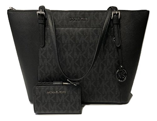 Bundle of 2 items: MICHAEL Michael Kors Ciara Large East West TZ Tote bundled with Michael Kors Jet Set Travel Bifold Zip Coin Wallet Signature MK Black Top zip closure, Front slide pocket with magnetic closure, Rear slip pocket, Dual leather straps ...