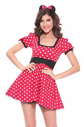 ALBRIGHT Sexy Maus Kostüm Damen , Polka dots Cartoon Cosplay Kleid mit Ohren für Halloween Weihnachten Karneval Party (Medium)