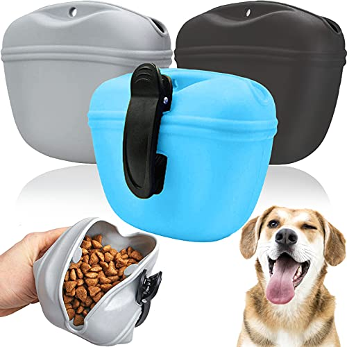 Broadsheet 3Pcs Silicone Dog Treat Pouch, Portable Dog Treat Bag for Training, Dog Treat Fanny Pack with Magnet and Clip, Pet Puppy Training Pocket for Dogs Leash