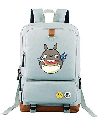 WANHONGYUE My Neighbor Totoro Anime Bolsos Mochila para Portátil Bolsa para la Escuela Estudiantes Backpack Gris Claro /5