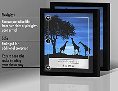 Americanflat 12 Piece 8x10 Gallery Wall Picture Frame Set in Black - Composite Wood with Polished Plexiglass - Horizontal and