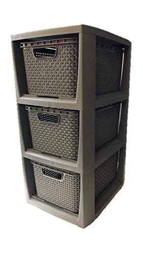 Rattan Container mit 3 Schubladen Optik, Kunststoff (PP), schwarz