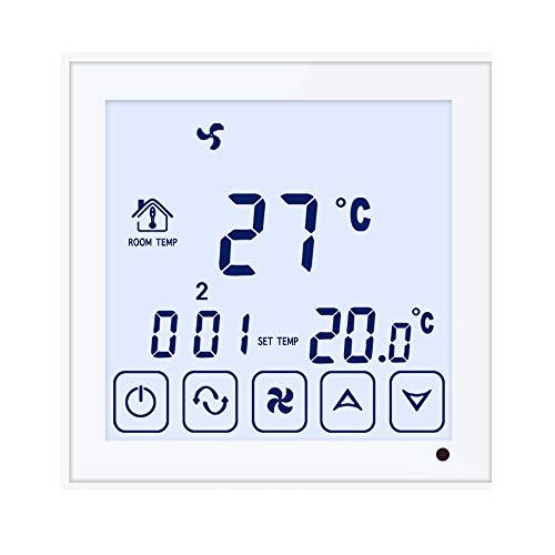 Beok TDS23-AC2 Timer Giornaliero Termostato Ventilconvettore Controllo Intelligente Centrale Aria Condizionata Controller, 2 tubi , 50/60 Hz, 3 A, Bianco, 230 V volt