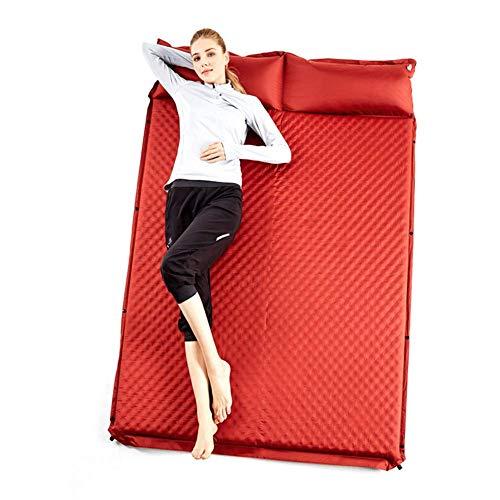 FTFDTMY Sleeping Selbstaufblasende Matte Aufblasbares Pad Luftmatratze Schaum Feuchtigkeitsbeständige Doppelmatratze im Zelt für Camping Pad, 188 * 130 * 5 cm, rot
