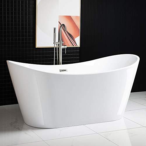 WOODBRIDGE Acrylic Freestanding Bathtub Contemporary Soaking Tub with Brushed Nickel Overflow and Drain BTA1515-B,White, 67' B-0010