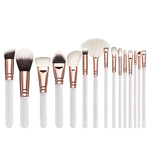 XINRISHENG 15 Pcs pinceaux de Maquillage, Maquillage Complet Brosses Kit, Brosses Correcteurs Fards à paupières Make Up Kit Brosses,Blanc