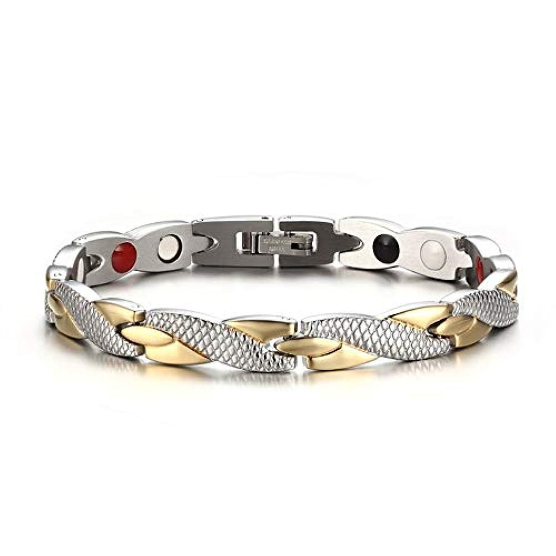 毒災害高層ビル人気のある磁気ヘルスケアチェーンブレスレットトレンディな魅力的なファッショナブルなジュエリー男性女性リンクチェーン装飾品すべての試合スタイル(Color:Gold & silver)
