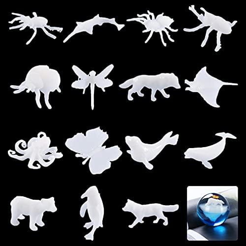 FineInno 15 PCS Riempitivo in Resina, 3D Mini Animale Resin Fillers, Riempitivo per Stampi Resina Epossidica, Stampi Artigianale Riempitrici Materiali per Gioielli DIY