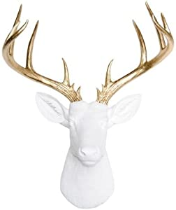 Near & Deer ND0108 Faux Taxidermy 14 Point Deer Head Wall Mount, White/Gold