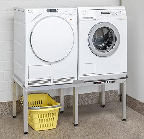 Neue ausführung Waschmaschinen Untergestell Mara 2 50 cm hoch 6-beinig Made in Germany Verstärkte Aluminium Ausführung rostfrei für 2 Maschinen