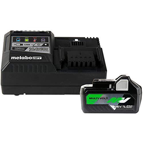 Metabo HPT MultiVolt Battery and Charger Starter Kit, 36V/18V, 4.0Ah/8.0Ah, Lithium Ion, Slide Style, Charger Includes Built-in USB Port (UC18YSL3B1)