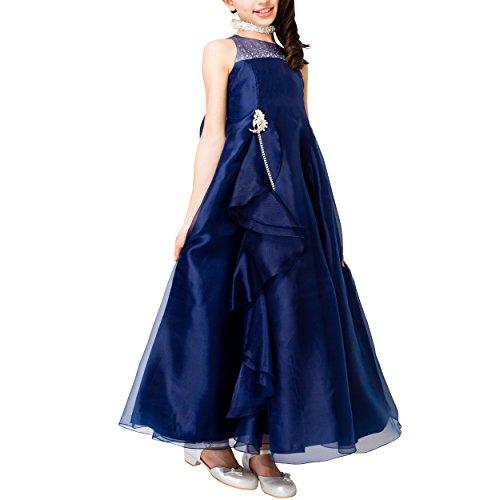 [アリサナ]arisana ドレス 子供 ロングドレス ジュニア 発表会 結婚式 ピアノ こども 子供ドレス ピアノ発表会 (ロングドレス+ブローチの2点セット) ネイビー 160cm