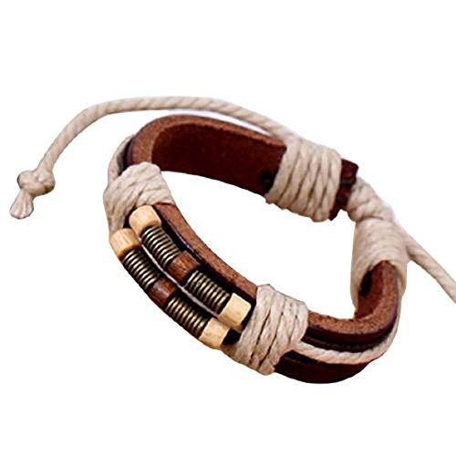 Bracelets for women&Punk Unisex Braided Rope Faux Leather Handmade Bracelet Bangle Jewelry Gift,beaded bracelet handmade charm bracelet
