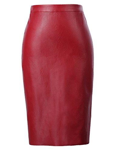 Kate Kasin Women's Faux Leather Pencil Skirt Hip Wrapped Back Split KK601