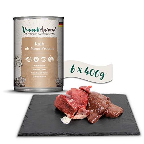 Venandi Animal Mangime per Gatti Premium, Vitello Come Mono-Proteina, Senza Cereali - Pacco da 6 x 400 g