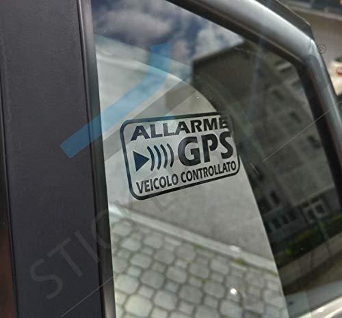 StickersLab - Pegatinas de Alarma GPS antirrobo para Coche, Moto, camión, Caravana, Color Negro Quantità - 4 Pezzi (12x6cm) Neri