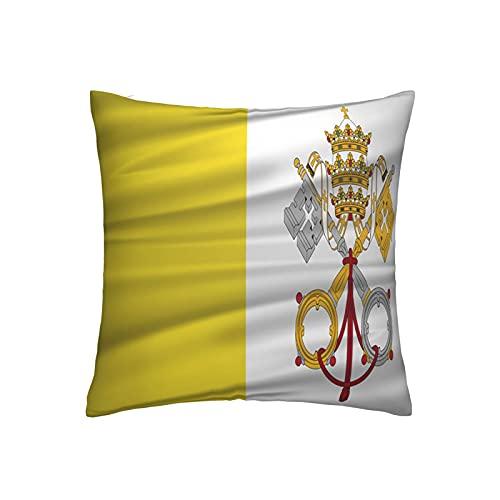 Kissenbezug mit Vatikanstadt-Flagge, quadratisch, dekorativer Kissenbezug für Sofa, Couch, Zuhause, Schlafzimmer, für drinnen & draußen, niedlicher Kissenbezug 45,7 x 45,7 cm