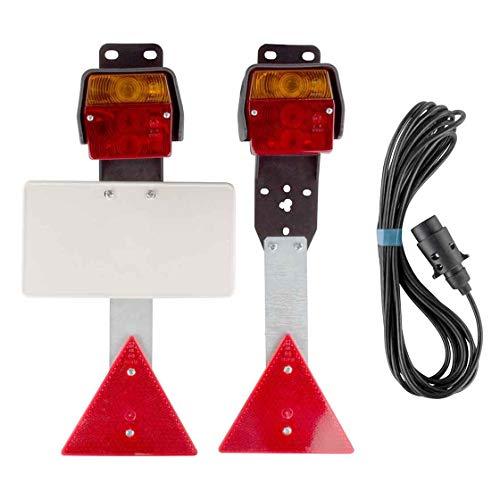Anhänger - Beleuchtungssatz, Dreifunktionskammer, 10 Meter Zuleitung, mit KFZ Kennzeichenplatte, Anhängerbeleuchtung, Rückleuchten, Bremslicht, Rücklicht, Anhänger Beleuchtung Set