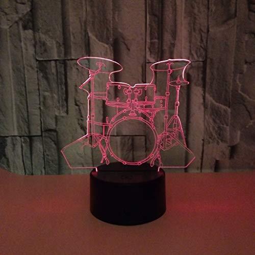 Muziekinstrument trommel nachtlampje voor kinderen 3D illusie lamp, Touch Button 7 kleuren tafel bureaulamp met afstandsbediening voor kinderkamerdecoratie en kindergeschenken
