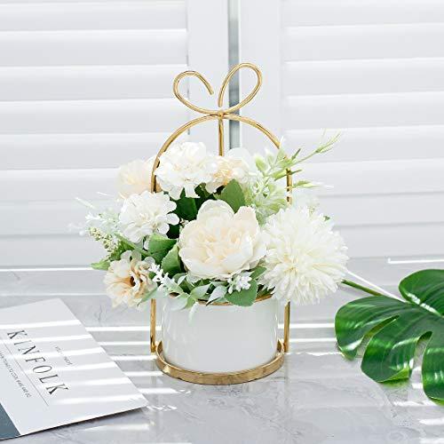 Veryhome Künstliche Blumen Hortensie Chrysantheme Topf Gefälschte Blumen Hängen Topfpflanzen Für Zuhause Wohnzimmer Büro Party Dekoration ( Chrysantheme Topf-Weiß )