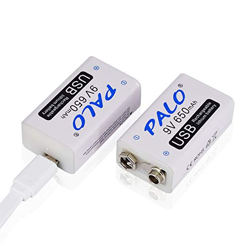 PALO USB 9 V 650 mAh Akku wiederaufladbar Li-Ion mit USB-Kabel für Tastatur Mikrofon Rauchmelder (2 Stück USB-Akku und 1 Kabel)