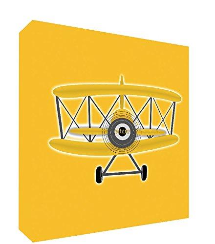 Feel Good Art Toile Boîte Galerie enveloppé avec panneau avant pour le transport Loving massif pour enfant (25 x 25 x 4 cm, petit, jaune, Vintage avion)