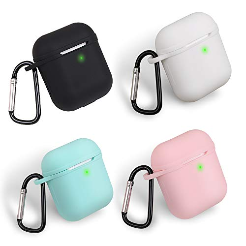 homEdge AirPods Case, 4 Packs Seamless Fit Silicone Protective Cover [Front LED Visible] with D Shape Clip Compatible with Apple AirPods 2&1 – Black, White, Pink and Mint Green