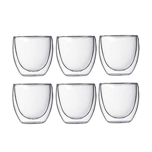 NBKLSD Taza de café con Aislamiento de Pared Doble Espresso 80/250/350/450 ml Taza Transparente Resistente al Calor Taza de Vidrio Tazas Tazas Tazas (Color : 6 pcs 80 ml)