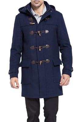 BGSD Men's Benjamin Wool Blend Classic Duffle Coat Navy Large by