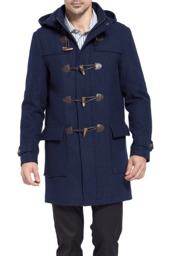 BGSD Men's Benjamin Wool Blend Classic Duffle Coat Navy XX-Large