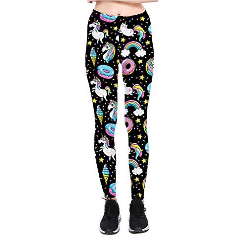 3D Gedruckt Fitness Push Up Workout Leggings Frauen Gothic Unicorn Regenbogen Donut Plus Größe Hohe Taille Punk Rock Hosen XXL