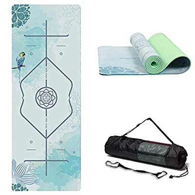 "WWWW PIDO Suede TPE Yoga Mat Eco Friendly Non Slip Yoga Mats with Carrying Strap and Bag 72""x 24"" Extra Thick 1/4"" Exercise & Workout Mat for Yoga Pilates Fitness for Lover"
