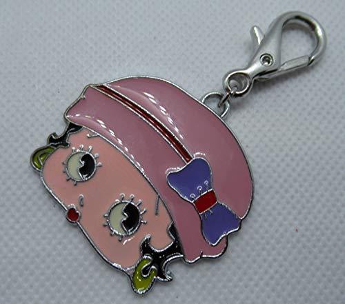 Huge head betty Boop handbag charm keyring fob pink hat