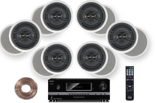 """Sony HD Digital Cinematic Sound 700 Watts 7.1 Channel 3D A/V Receiver + Yamaha Natural Sound Custom Install In-Ceiling 3-Way 120 watts Speaker (Set of 6) with Dual Tweeters & 8"""" Woofer + 100ft 16 AWG Speaker Wire"""