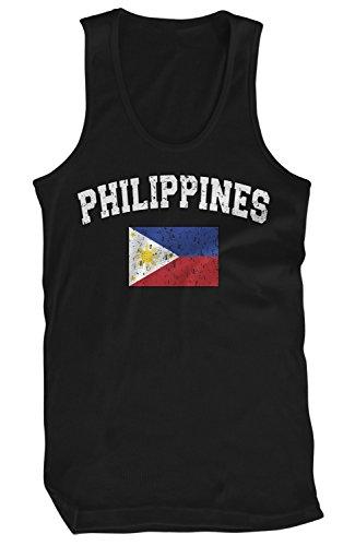 Amdesco Men's Philippines Flag, Filipinas Philippine Flag Tank Top, Black Small