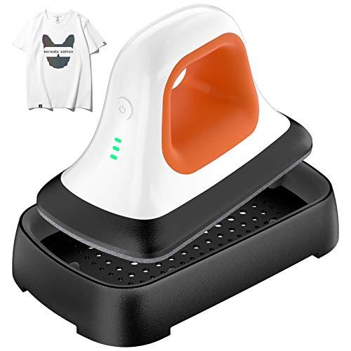 Heat Press Machine for T-Shirts, 7'x 3.8'Portable & Lightweight Heat Press Machine for Bags Hats HTV Vinyl Projects, Mini Heat Press Professional Heat Transfer Iron-on with Teflon Sheet (Orange)